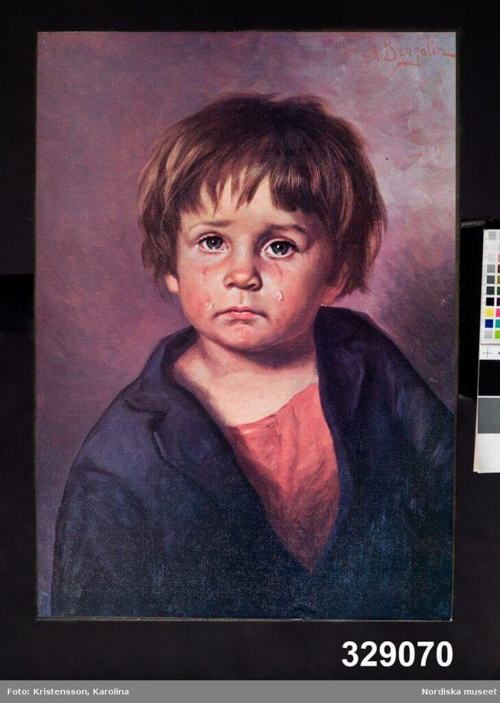 Gråtande barn, tavla av Bruno Amadio aka Giovanni Bragolin